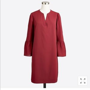 J Crew Deep Red Bell Sleeve Dress